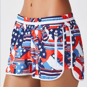 Fabletics American Flag Patchwork Athletic Shorts